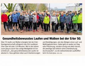 31.12.18 70 Teilnehmer bestehen das DLV Lauf- oder Walkingabzeichen